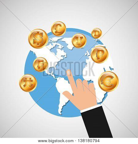 business world money economy finance isolated, vector illustration