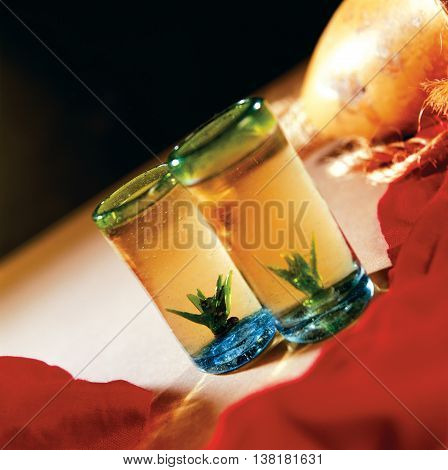 Two tequila glasses alcohol bar celebration drink