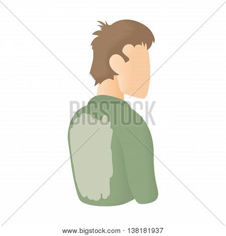 Man in a stained shirt on his back icon in cartoon style on a white background