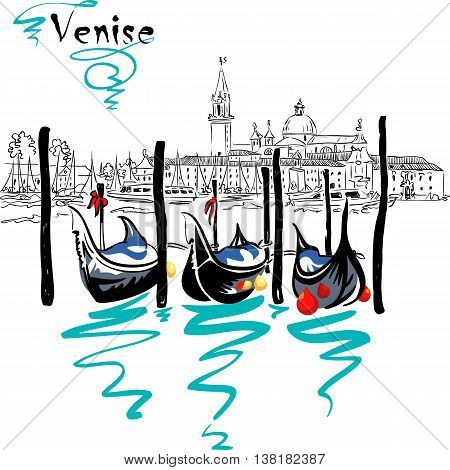 Gondolas moored by Saint Mark square with San Giorgio di Maggiore church in the background in Venice lagoon, Italia.