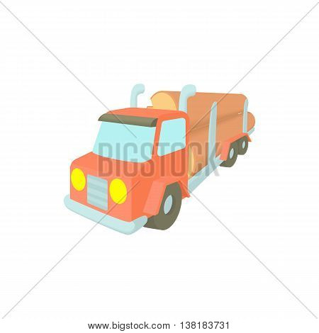 Log truck with the pile of logs icon in cartoon style on a white background