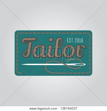 Tailor shop vector logo sign emblem. Vintage retro design element for tailoring and sewing service