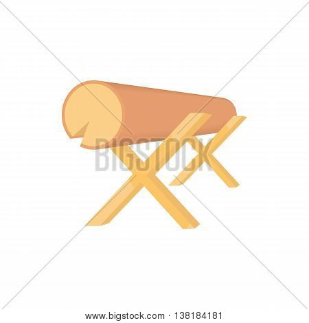 Work bench with the log icon in cartoon style on a white background