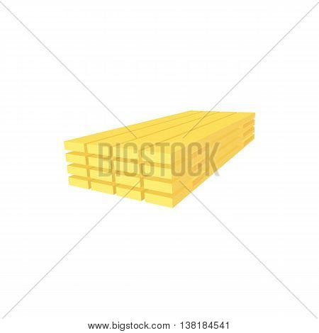 Wood planks icon in cartoon style on a white background