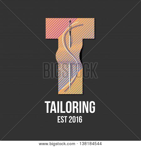Tailor shop vector logo sign emblem. Design element for sewing and tailoring craft service with needlework
