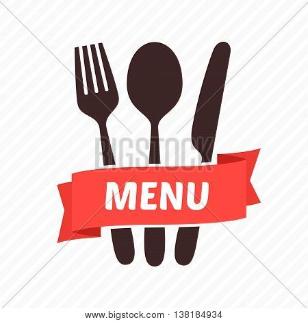 Vector emblem for restaurant - a fork, a spoon and a table knife with a red tape and an inscription. A bright element of design for the menu of restaurant, cafe. Tableware.