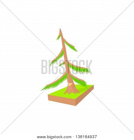 Pine to saw cut icon in cartoon style on a white background