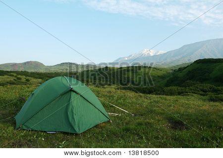 tent in mountain on Kamchatka