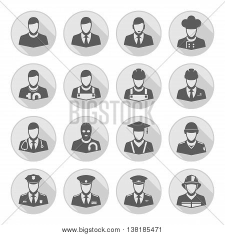 People occupations icons with long shadow. Professions people thin line vector avatars group. Professions icons avatars set on white background.