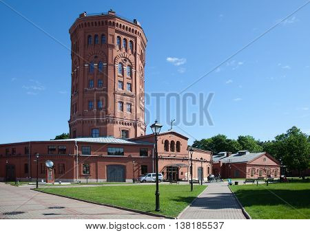 St. Petersburg. View of an old water tower and territory of the museum complex