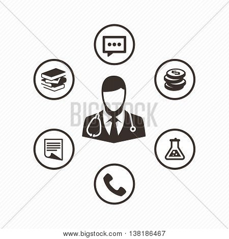 Doctor with stethoscope around his neck. Medical icons set in flat style. Medical consultation icons.