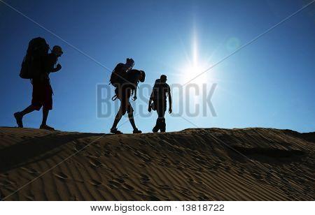 Group going  in sand desert