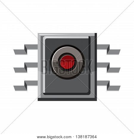 Microchip icon in cartoon style on a white background