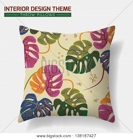 Decorative Floral Throw Pillow design vector template. Original Tropical Leaves pattern is complete masked. Interior design element. Creative Sofa cushion. Vector design is layered editable