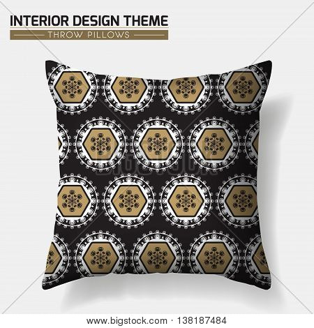 Decorative Geometric Pattern Throw Pillow design template. Original pattern is complete masked. Modern interior design element. Creative Sofa Toss Pillow. Vector design is layered editable