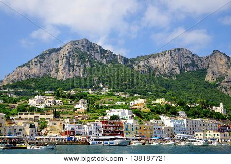 CAPRI, ITALY, JULY 6, 2016 : The port of Marina Grande on the island of Capri. Campania region of Italy.
