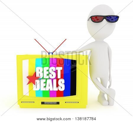 3D White Character Standing Near To Television Projecting Best Deals Text Concept