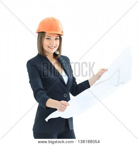 Cheery female architect with blueprints