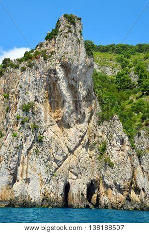 Coastal rocks of Capri island, Campania region of Italy.