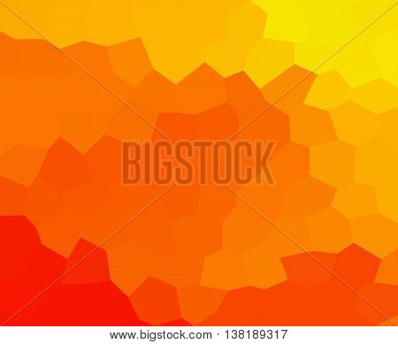 Abstract low polygonal - mosaic geometry hexagonal background in warm hot colors of yellow red and orange