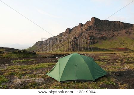 tent in mountain on Kamchatka