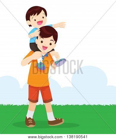 Cartoon vector illustration Cute little boy sitting on her father's shoulder.