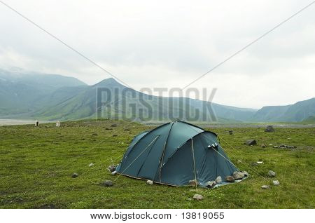 Tent in the Kamchatkian mountain