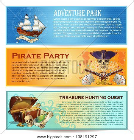 Pirates horizontal banners set with adventure park sea robbers party treasure hunting quest isolated vector illustration