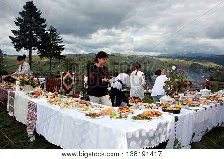 Lazeshchyna Ukraine - September 6. 2009: Participants of the gastronomic festival