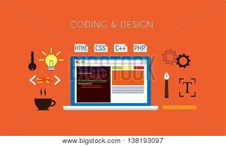 Programming - Coding and Design Flat Concept