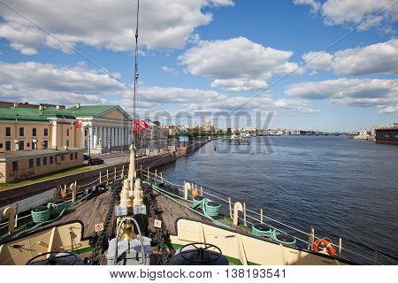 St. Petersburg. The Krasin ice breaker museum on the parking.