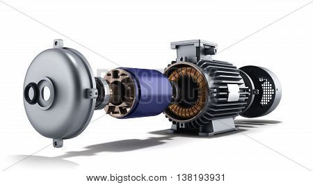 Electric Motor In Disassembled State 3D Illustration On A White Background
