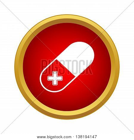 Pill icon in simple style in red circle