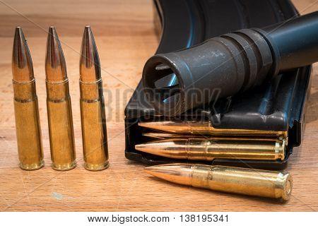 AR 15 Ammunition in Magazine 300 AAC Flash Suppressor 3