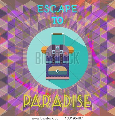 Abstract summer time infographic escape to paradise text a big baggage. Digital vector image