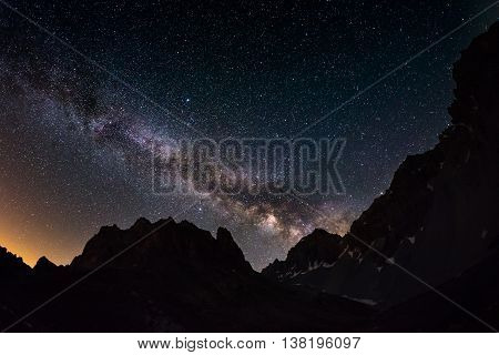 The Outstanding Beauty Of The Milky Way Arc And The Starry Sky Captured At High Altitude In Summerti
