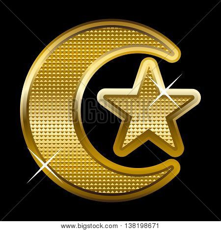 Vector illustration of a golden crescent and star, symbol of Islam