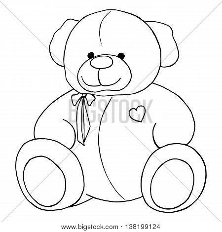 Cartoon lovely Teddy Bear toy monochrome vector line art isolated