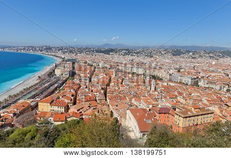 NICE FRANCE - APRIL 11 2016: View of historic center of Nice France from the Castle Hill. Nice (Nicaea) was probably founded around 350 BC by the Greeks of Massilia