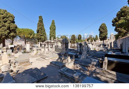 NICE FRANCE - APRIL 11 2016: Chateau Cemetery in Nice France. Graveyard was founded in 1783 and some of Nice most famous people were buried there