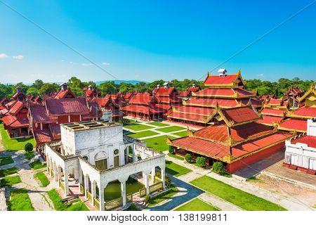 Mandalay, Myanmar buildings on the Royal Palace grounds.