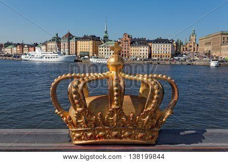 Skeppsholmsbron (Skeppsholm Bridge) With Its Famous Golden Crown In Stockholm, Sweden