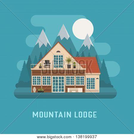Mountain Lodge House Landscape.