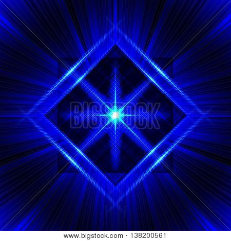 Flash with glow frame and radial rays. Beautiful psychedelic vector background. Bright blue pattern