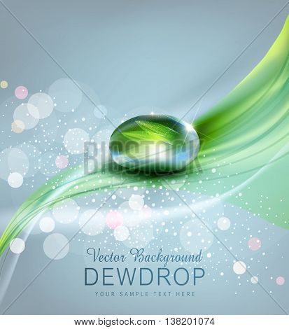 vector background with a drop of dew and reflection sheet in dew drop