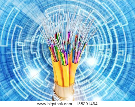 binary code and optical fiber background. 3D illustration