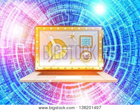 golden vault door pc and binary code 3d background