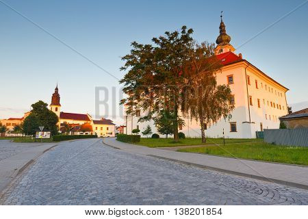 Palace and a church in Uhersky Ostroh, Moravia, Czech Republic.