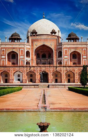 Famous indian tourist attraction landmak - Humayun's Tomb. Delhi, India. UNESCO World Heritage Site