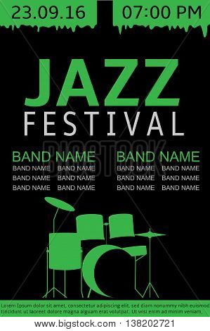 Jazz festival banner. Live music show, Vector illustration